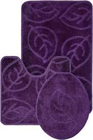 3 pc bath mat set leaves purple
