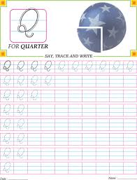 Small Picture Cursive capital letter Q practice worksheet Download Free