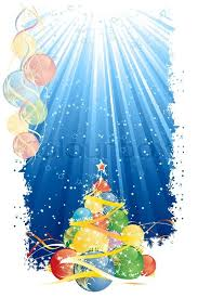 Magic Christmas Tree And Vertical Blue Stock Vector Colourbox