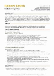 Resume Objective For Supervisor Position Unique Production