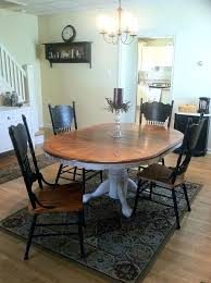 paint your oak table chairs with black chalk paint and table with cream paint and glaze