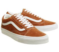 mens vans old skool trainers leather brown true