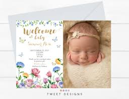 spring baby announcements butterfly birth announcement spring birth announcement floral baby