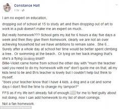 constance hall ask facebook followers whether homework is relevant   not a fan homework school gets my kid for 6 hours a day