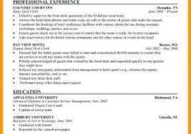 Hotel Front Desk Resume From Resume Samples For Hotel Receptionist