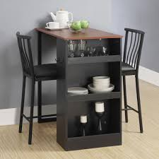 3 Pc Countertop Height Bar Set Table And Chairs Home Kitchen Storage