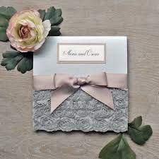 Wedding Invitation Folding Silver Rosette Wedding Invitations Square Folding Pocket Invite Card