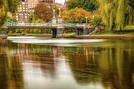 Boston Public Garden Foot Bridge in Autumn Photograph by Gregory Ballos
