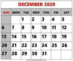 December 2020 Printable Calendars
