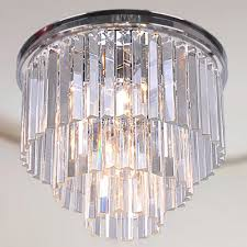 justina 5 light crystal glass prism 3 tier flush mount chandelier in antique