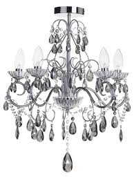 vara bathroom ceiling 5 light chandelier smoke crystals chrome chandeliers