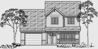 house front drawing elevation view for 9993 narrow lot house plan 4 bedroom house plan