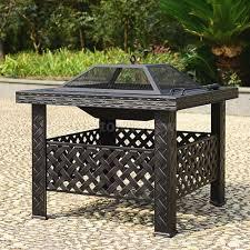 ikayaa metal garden patio fire pit stove brazier outdoor fireplace w cover poke