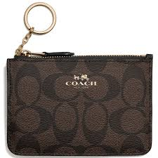 Coach Signature Key Pouch With Gusset Black   Brown   F63923