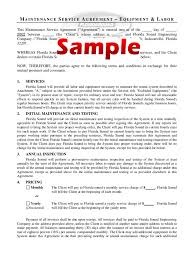 Free Service Contract Template Maintenance Service Agreement Form Sample Free Download