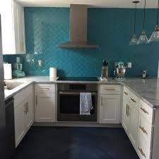 Teal Kitchen Amazing Kitchen Teal Herringbone Backsplash White Cabinets Grey