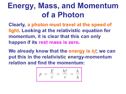 energy of a photon equation. but in this case, total energy and momentum are not conserved ! the masses of an electron a photon equation i