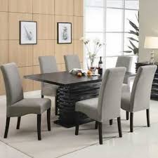 best wayfair dining room furniture of brownville 7 piece dining table set in rich black with gray chairs