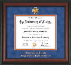 uf mba classic script diploma frame medallion gator mba gear