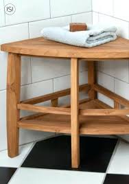 wooden bathroom stool teak corner shower seat with shelf bench uk