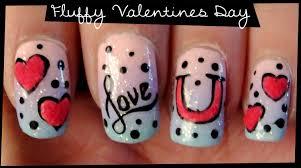 Fluffy Valentines Day nail art - YouTube