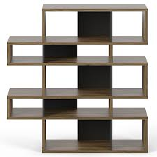 london walnut  black double modern bookcase  eurway