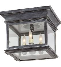 flush mount exterior light. Visual Comfort CHO4310WZ-CG E. F. Chapman Club 3 Light 9 Inch Weathered Zinc Outdoor Flush Mount In Clear Glass Exterior G