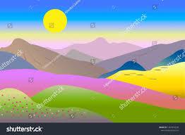 Sunrise Landscape And Design Mountain Landscape Sunrise Abstract Flat Design Sunrise