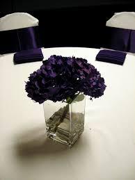 simple purple centerpiece hydrangeas