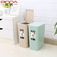Get Quotations · Pro Satisfied Thick Bathroom Large Kitchen Trash Can Lid  Plastic Wastebasket Trash Creative Household Trash Can