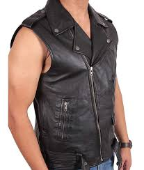 mens classsic style multi pockets black motorcycle leather vest