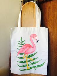 hand painted canvas flamingo tote bag by therosyredfox on