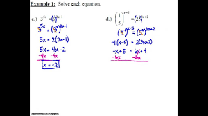 algebra 2 7 2 notes example 1c d solving an exponential equation