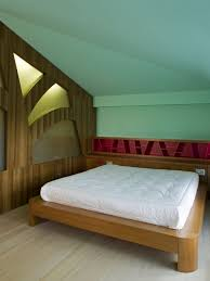 Bedroom:Tasteful Minimalist Attic Bedroom With White Wooden Master Bed Also  Wooden Paneling Wall Ideas