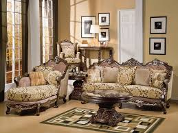 Wooden Living Room Furniture Sets Charming Brown Wooden Carving Luxury Sofa Lounge And Pedestal