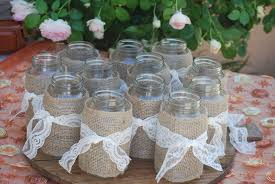 Decorating With Mason Jars And Burlap Mason Jars With Burlap Wraps DIY Shabby Chic Weddings AZ 6