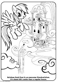 Kleurplaat My Little Pony Rainbow Dash Kasteel Kleurplatennl