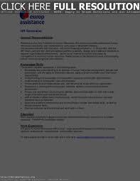 Human Resources Generalist Resume Virtren Com