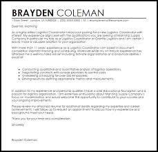 Logistics Coordinator Cover Letter Logistics Coordinator Cover Letter Sample Cover Letter Templates
