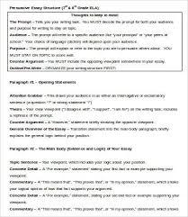 persuasive essay sample example format  persuasive essay structure template