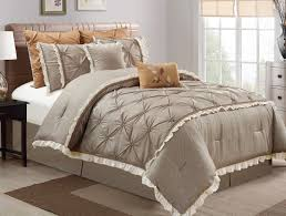 vera by chezmoi collection 8 piece fl pintuck pleats faux linen medium taupe bedding comforter set bedding collections