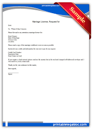 Free Printable Marriage License Request For Legal Forms Free