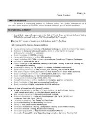 Sample Resume For Etl Testing 2 Yrs Regression Analysis