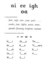 Worksheets, lesson plans, activities, etc. Phonics Ai Ee Igh Oa Worksheet