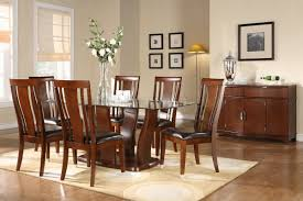 Cherry Wood Kitchen Table Sets Cherry Finish Glass Top Modern Dining Table W Optional Items