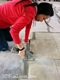 diy stamped concrete tile driveway
