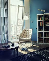 Amenities and Cosiness in Reading Area Designs: Cozy White Blue Lounge  Cream Chair Design