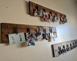 Wood Board for Photo Picture Display; Clothespin Hanging for Photos Pictures