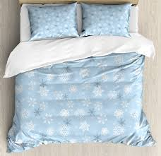 winter duvet cover set cold weather in winter new year s eve traditional holiday stars decorative bedding set with pillow shams baby blue grey