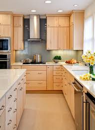 Light Brown Wooden Maple Kitchen Cabinets With Storage And White